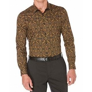 Perry Ellis NEW Brown Mens Size Large L Kaleidoscope-Print Shirt
