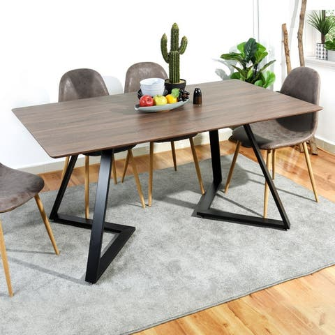 """63"""" Rectangle Iron Base Dinning Table Natural Grain Wood Top - dining table"""