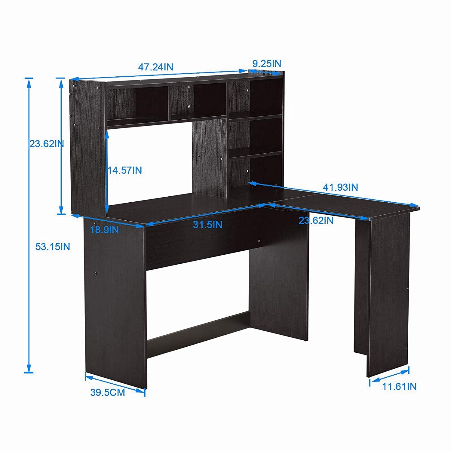 Mcombo Modern Computer Desk with Hutch L Shaped Gaming Desk Corner Desk  with Shelves for Small Space Home Office