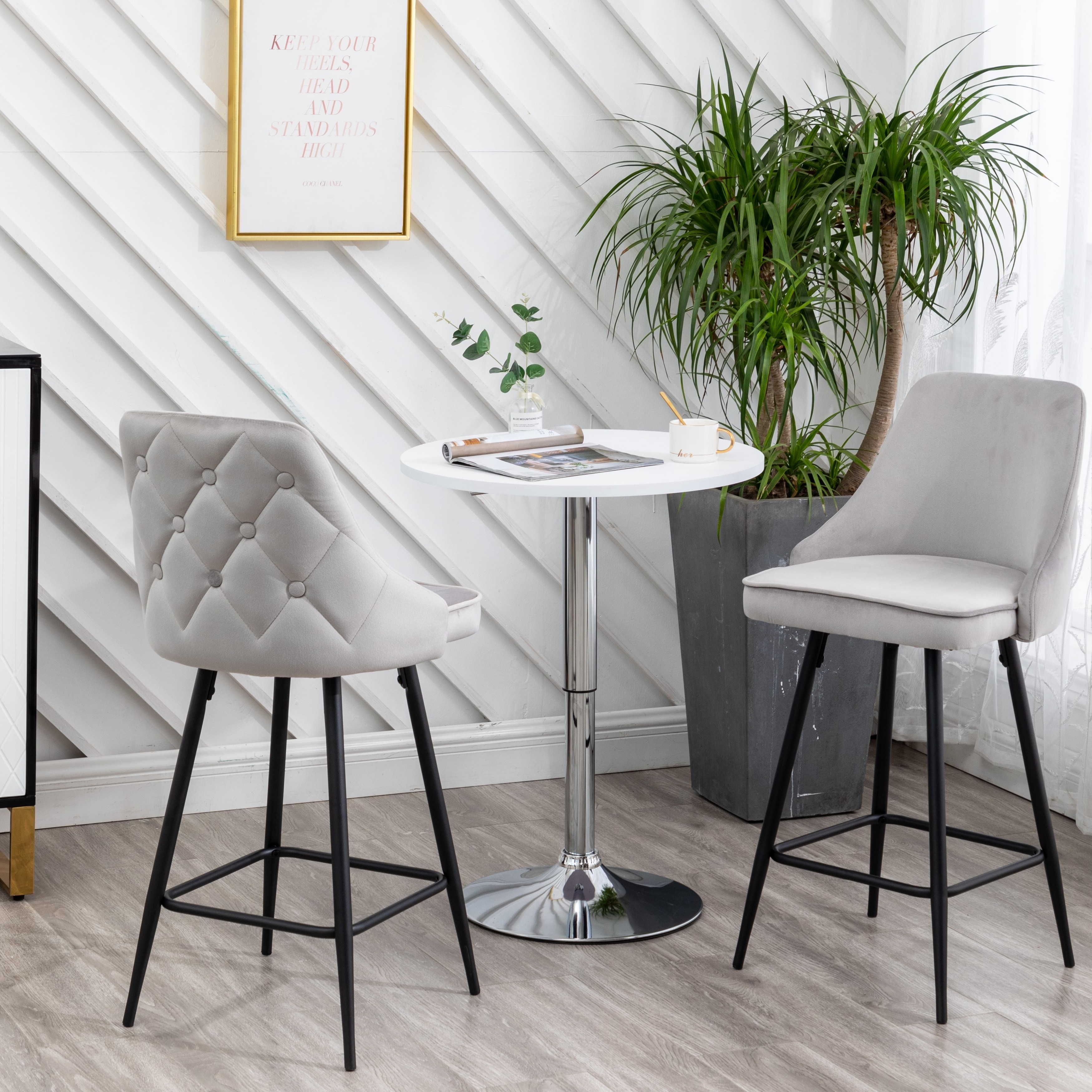 Zahra Premium Tufted Upholstered Dining Bar Stool Set Of 2 On Sale Overstock 31568917
