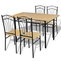 vidaXL Dining Set 1 Table with 4 Chairs Light Brown