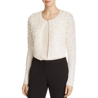 Elie Tahari Womens Gisele Cardigan Sweater Cropped Embellished - m