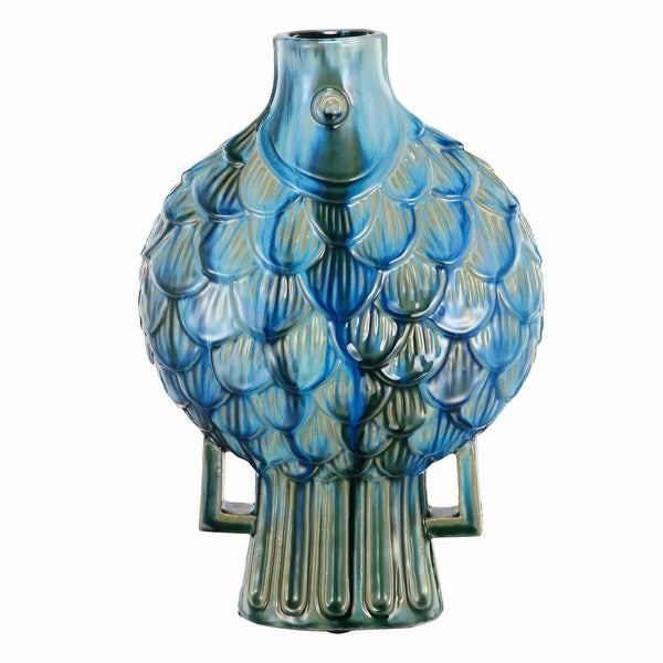 "15.75"" Blue Fish Shaped Tropical Color Theme Vase - N/A"