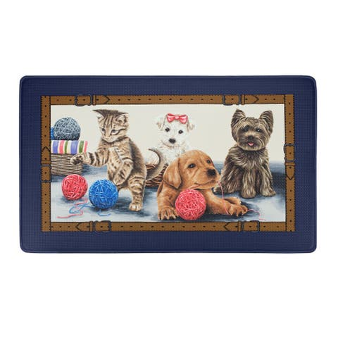 Precious Decorative Anti-Fatigue Mat, Navy Blue, 18x30 Inches