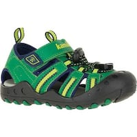 Kamik Children's Crab Closed Toe Sandal Green Synthetic Leather