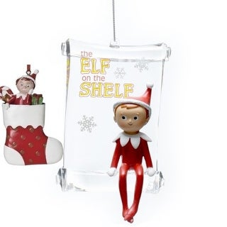 Roman Elf on a Shelf Bundle Pack of 2 Ornaments- Scroll and Stocking Elf