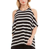Vince Camuto Womens Casual Top Striped Cold Shoulder