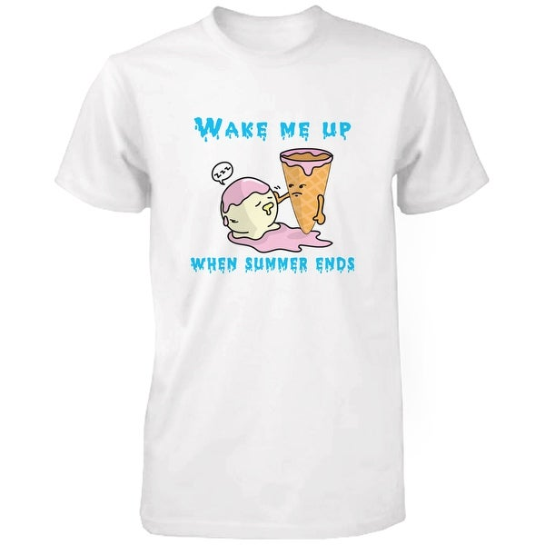 Wake Me Up When Summer Ends Ice Cream Men's T Shirt Humorous Summer White Tee Funny Shirt