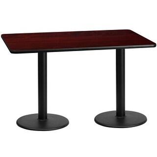"Dyersburg 30"" x 60"" Rectangular Mahogany Laminate Table Top w/30"" High Round Base"