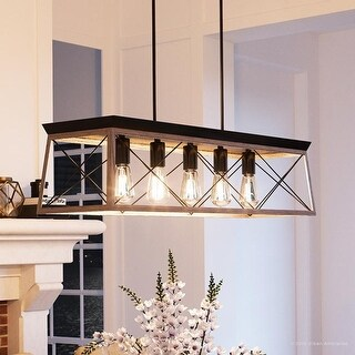 "Luxury Industrial Chic Island/Linear Chandelier, 9""H x 38""W, with Modern Farmhouse Style, Charcoal Finish by Urban Ambiance"