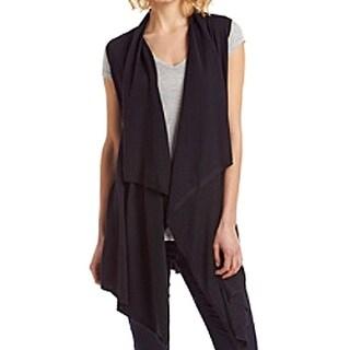 Michael Kors NEW Black Women's Small S Draped Open Front Vest Sweater