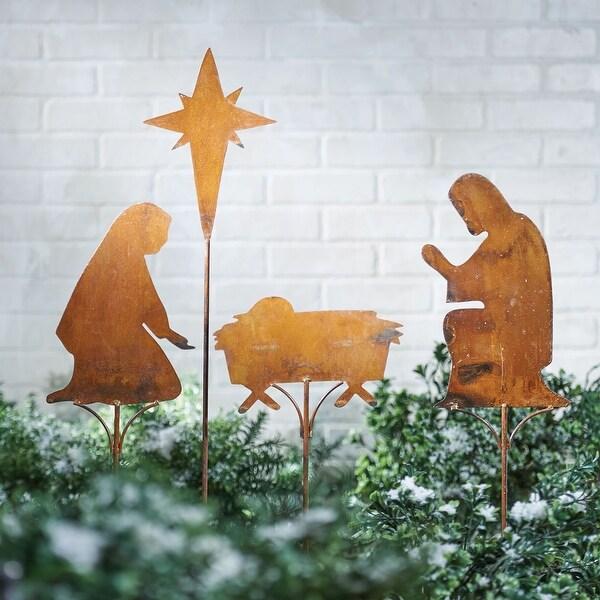 Art & Artifact Nativity Scene Garden Stakes - 4 Piece Set Rusted Metal Christmas Lawn Yard Ornament Decoration