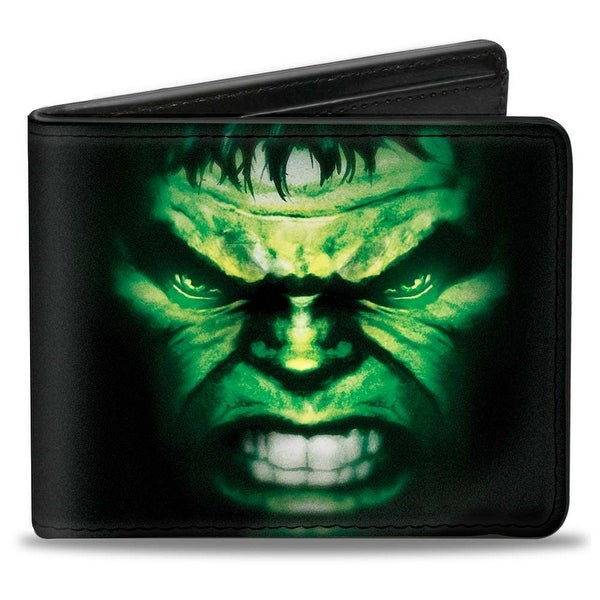 Marvel Avengers The Hulk Face Close Up2 + Text Black Greens Purple Bi Fold Bi-Fold Wallet - One Size Fits most