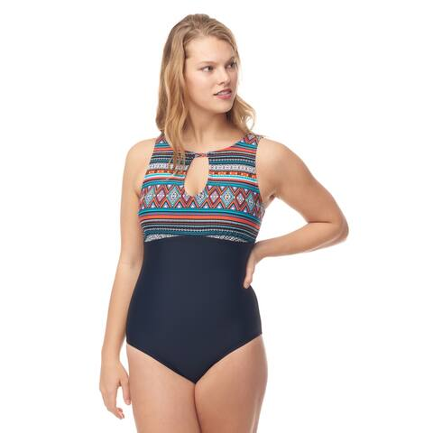 Sea & Sand Beachwear Deep V One Piece Bathing Suit