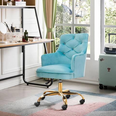 OVIOS Plush Velvet Rolling Desk Chair