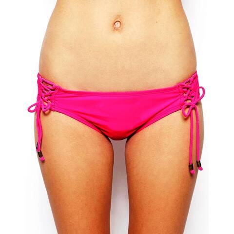 Hobie Women's Palm Beach Lace Up Hipster Bikini Bottom, Popping Pink, Small - Popping Pink