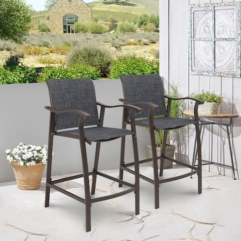 "Outdoor Counter Height Bar Stools Classic Patio Bar Chairs (Set of 2) - 21.85""W x 25""D x 39.76""H"