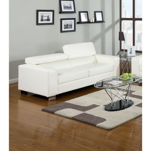 Furniture of America Fash Contemporary Faux Leather Upholstered Sofa