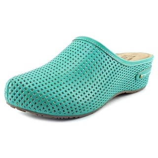 L'Artiste by Spring Step Luisa Women Round Toe Leather Green Mules