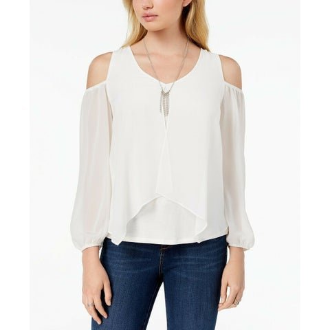 BCX White Size XS Junior Sheer Overlay Cold-Shoulder Contrast Blouse