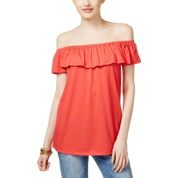 MICHAEL Michael Kors Womens Petites Blouse Gathered Off-The-Shoulder