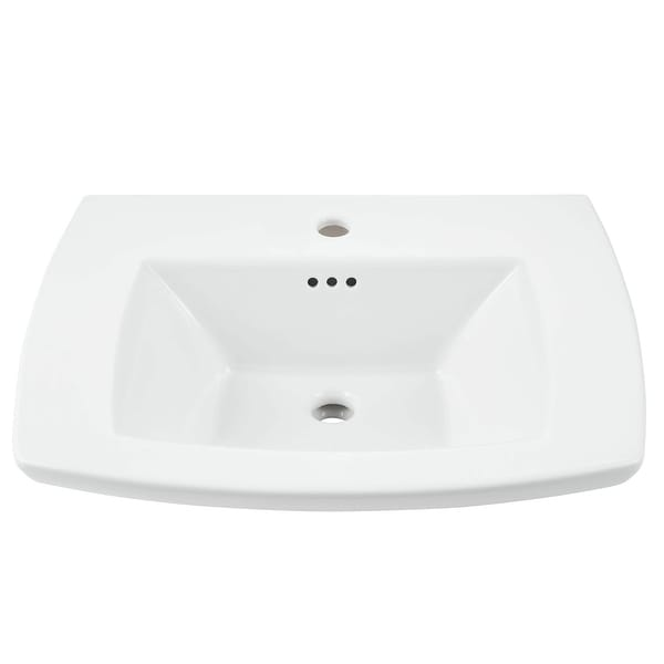 "American Standard 0445.001 Edgemere 25"" Fireclay Pedestal Bathroom Sink with Single Faucet Hole and Overflow - White"
