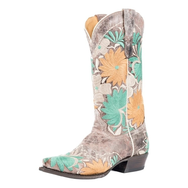 Roper Western Boots Womens Floral Bouquet Emb Tan