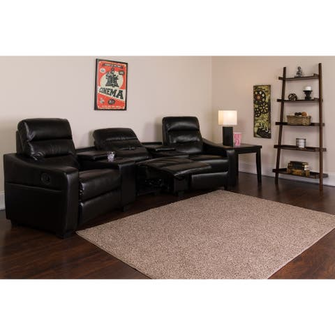 "Fusion Series 3-seat Reclining Leather Theater Seating Unit with Cup Holders - 120""W x 45"" - 64""D x 40""H"
