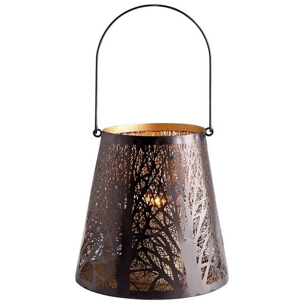 Cyan Design 09047 Forest Glow 2 Piece Iron Decorative Candle Holder Set - Graphite Bronze