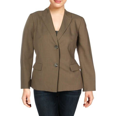 Le Suit Womens Plus Two-Button Blazer Shadow Stripe Office - 18W