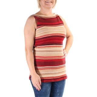Womens Red Sleeveless Jewel Neck Casual Sweater Size M