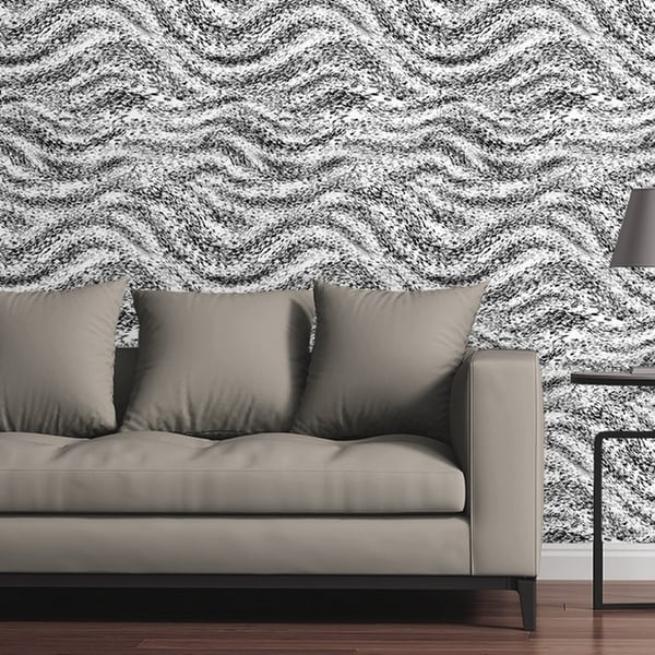 Circle Art Group Removable Wallpaper Tile   Checkered Waves   Multi Color