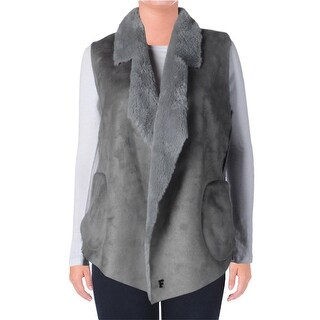 French Connection Womens Faux Fur Open Front Vest