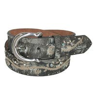John Deere Women's Realtree Camo Canvas on Leather with Embroidery Belt