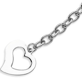 Chisel Stainless Steel Polished Open Link with Open Heart 8.5 Inch Bracelet