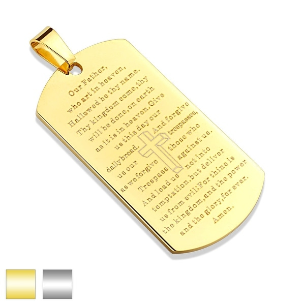 Lord's Prayer on Stainless Steel Dog Tag Pendant (Sold Ind.)
