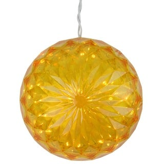 "6"" Yellow LED Lighted Hanging Christmas Crystal Sphere Ball Outdoor Decoration"