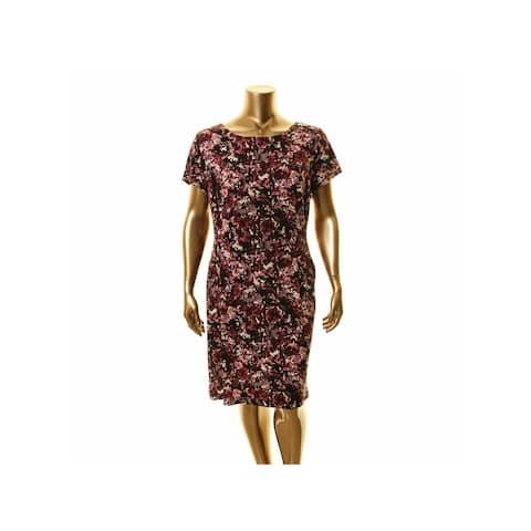 CONNECTED APPAREL Purple Short Sleeve Knee Length Dress 18W