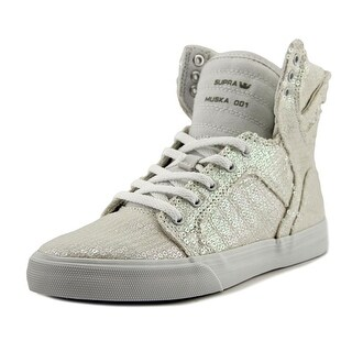Supra Skytop Youth Round Toe Canvas White Tennis Shoe