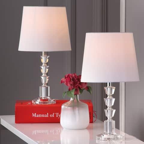 "SAFAVIEH Lighting 16-inch Harlow Tiered Crystal Table Lamp (Set of 2) - 9""x9""x16"""