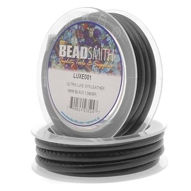 BeadSmith Ultra Luxe Synthetic Leather Cord 6mm - Black (1.5 Meter Spool)