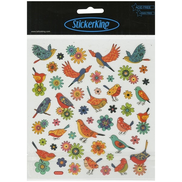 Multicolored Stickers-Birds & Flowers