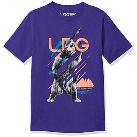 LRG Mens T-Shirt Purple Size Large L Grizzly Logo Printed Graphic Tee 078