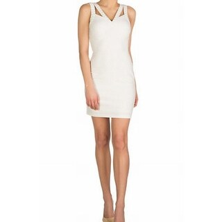 Guess NEW White Ivory Womens Size 10 Studded Stretch Bodycon Dress