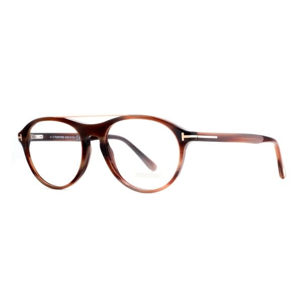 c922c93993315 Shop Tom Ford TF 5411 062 53mm Brown Horn Gold Men s Round ...