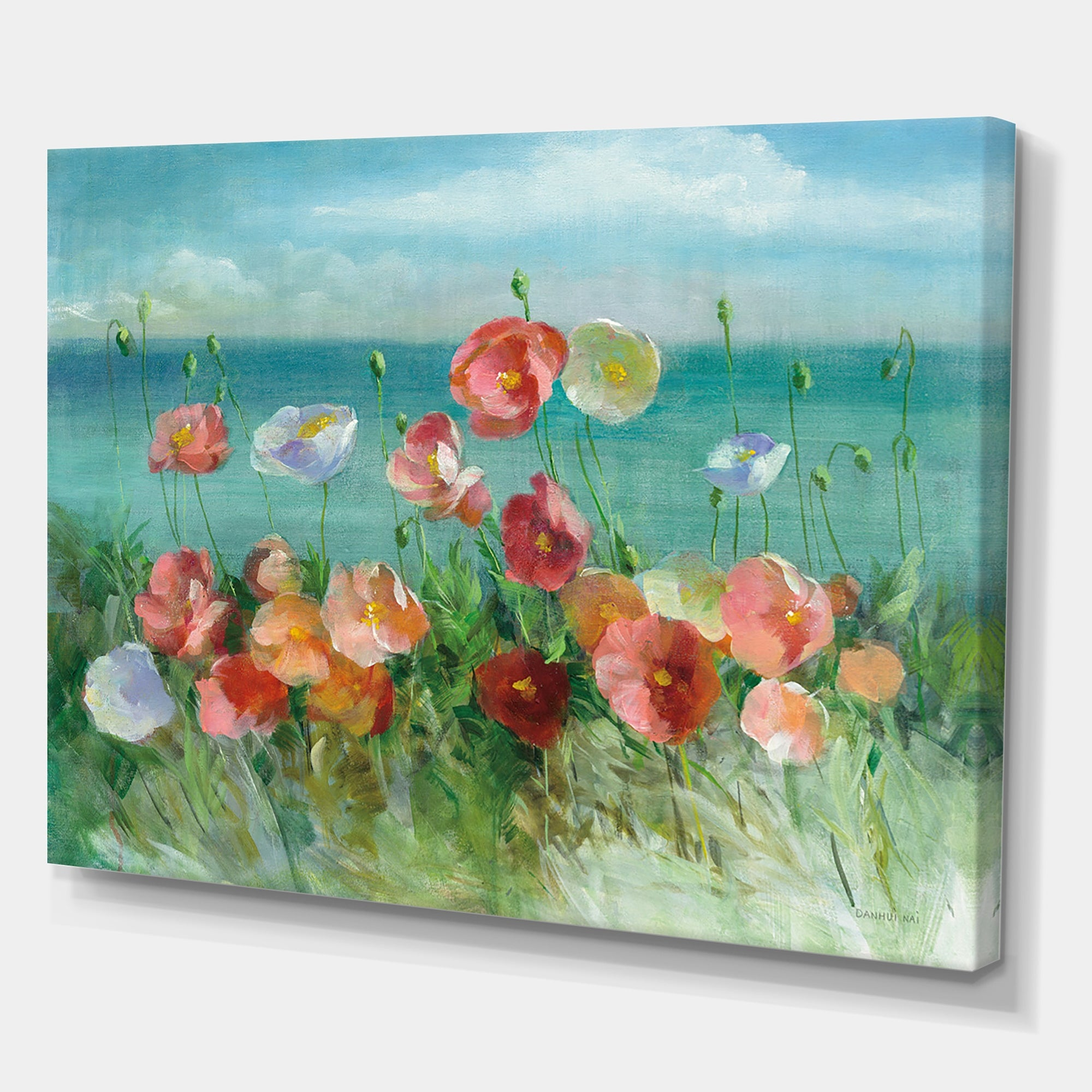 Vintage 24 by 36 rug canvas POPPIES