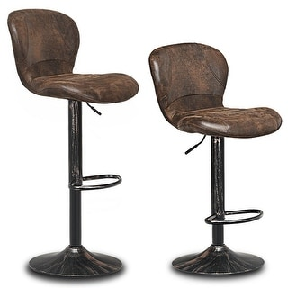 Costway Set of 2 Adjustable Swivel Bar Stool hot-stamping cloth with Backrest&Footrest Brown