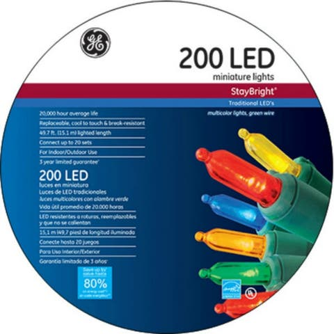 GE GE90855 StayBright® Christmas Mini LED 200-Light Set w/Green Wire, Multi Color