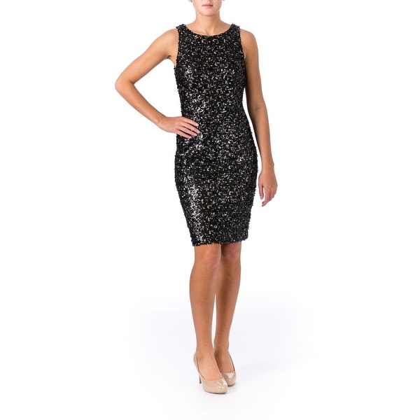 Sue Wong Womens Cocktail Dress Sequined Prom