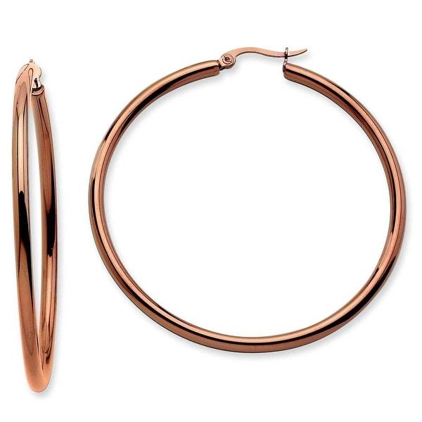 Chisel Stainless Steel Brown IP Round Hoop Earrings